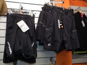 Lycra and Baggy shorts, kneelength,  3/4 leg, lightweight, waterproof etc
