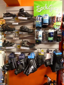 Shimano and Lake shoes, winter overshoes, and various socks